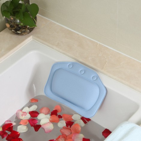 Non-slip Bathroom PVC Bathtub Pillow Headrest SPA Bath Pillow with Suckers Dark Blue