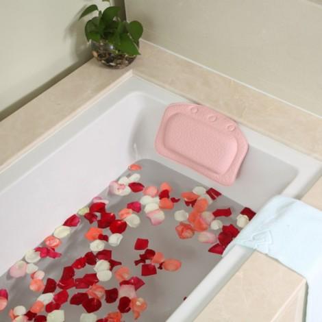 Non-slip Bathroom PVC Bathtub Pillow Headrest SPA Bath Pillow with Suckers Pink