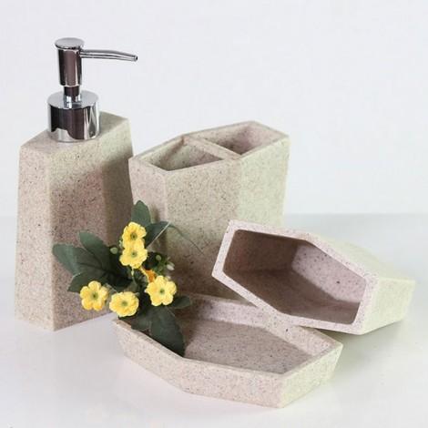 4pcs Bathroom Set Resin Liquid Soap Dispenser Porcelain Soap Toothbrush Holder Home Decoration Contracted Resin Sandstone