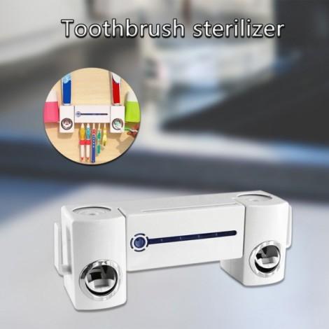 Ultraviolet Toothbrush Sterilizer Automatic Toothpaste Dispenser Washing and Brushing Set White