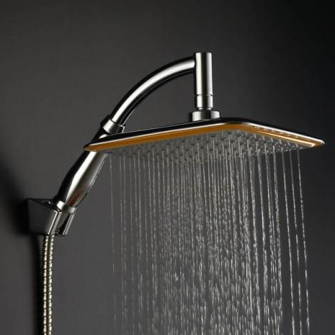 9 Inch Square Thin Rotatable Top Rain Shower Head Stainless Steel Water Saving Pressure Sprayer