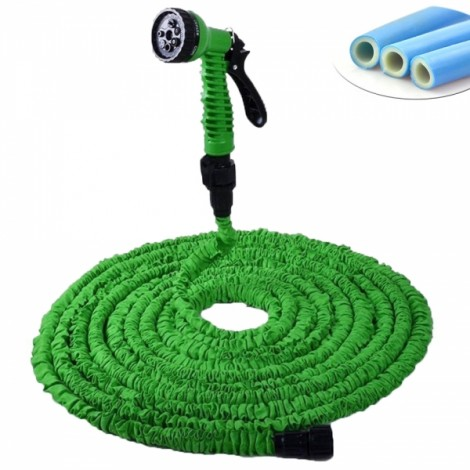 10M 7-Mode Expandable Garden Water Hose Pipe with Spray Nozzle Green