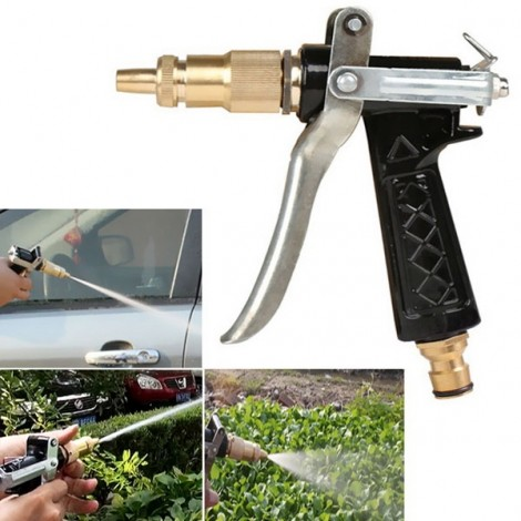 Copper Pressure Water Spray Nozzle for Car Wash Garden Watering Golden & Black & Silver