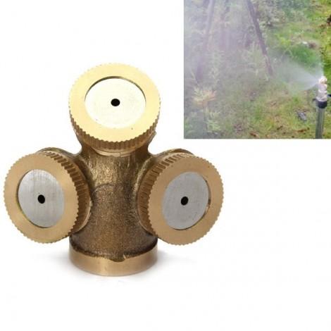 M14 x 1.5 Three Holes Brass Agricultural Mist Spray Nozzle Garden Sprinklers Golden