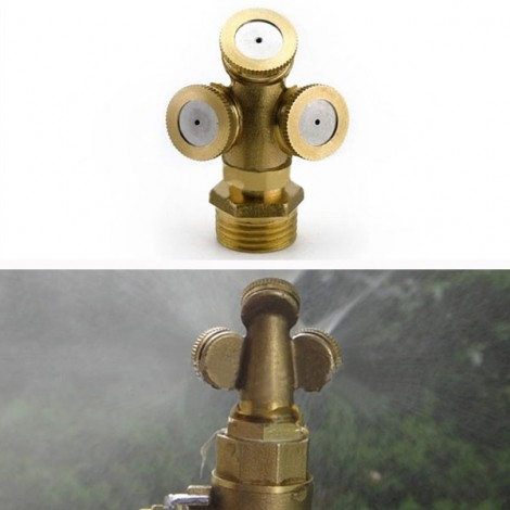 3 Holes Brass Agricultural Mist Spray Nozzle for Garden Irrigation System Golden