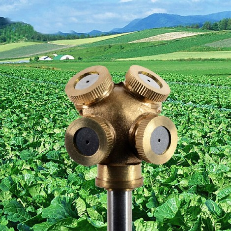 M14 x 1.5 Four Holes Brass Agricultural Mist Spray Nozzle Garden Sprinklers Golden