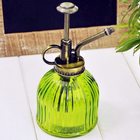 Zakka Colored Stripes Glass Watering Can Plant Waterer Garden Supply Green
