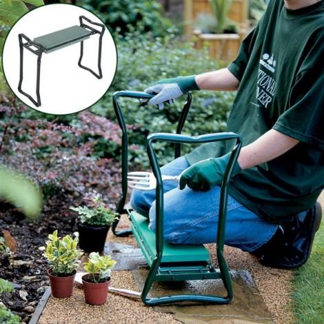 Folding Stainless Steel Garden Kneeler Stool EVA Cushion Seat Gardening Portable Tool Random Color