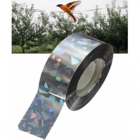 90M Bird Deterrent Tape Audible Visual Flash Pigeon Scare Ribbon Tape Silver Gray