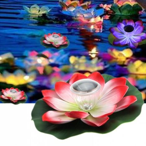 Solar Multi-color LED Lotus Flower Lamp Floating Pond Nightlight Green & Red & White