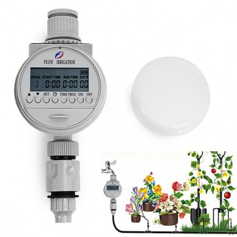 Solar Power Automatic Water Timer Smart Garden Water Saving Irrigation Controller White