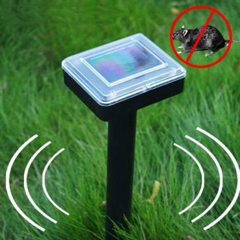 Mole Repellent Solar Power Ultrasonic Snake Bird Mosquito Mouse Ultrasonic Pest Repeller Black