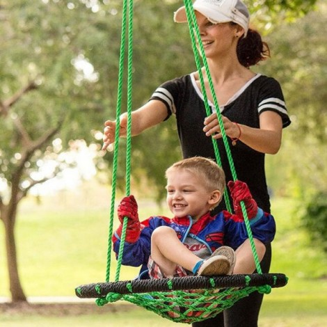 Spider Rope Web Tree Swing Outdoor Toy for Parks Backyards Green