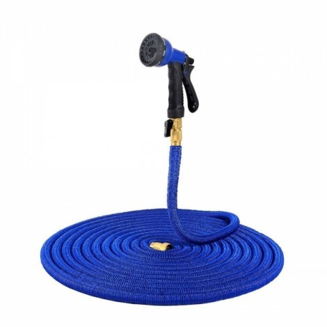 25FT Flexible Expandable Double latex Copper Connector Garden Hose Pipe with 8-Setting Spray Nozzle Water Spray Gun Blue