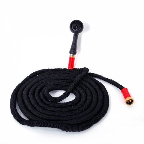 Expandable GardenHose Spray Nozzle with 3/4 Brass Connector Black