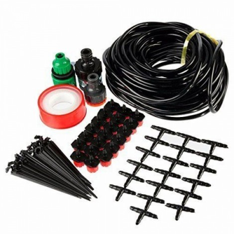 20M 20 Red Drippers DIY Micro Drip Irrigation System Plant Self Watering Garden Hose Kits Red & Green & Black