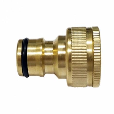 "Brass Hose Tap Connector 3/4"" threaded garden water Pipe Adaptor Fitting Golden"