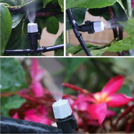 5 Meters Hose 10pcs Dripper Gardening Plant Micro Drip Irrigation System Patio Atomization Micro Sprinkler Cooling Kit Gray & Green & Black