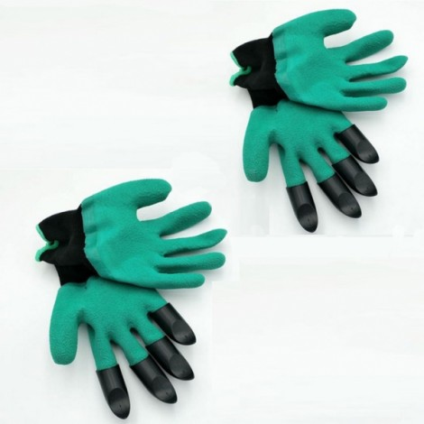 2 Pairs Garden Genie Gloves Digging Planting 4 ABS Plastic Claws Gardening Gloves Green