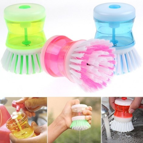 Creative Push-in Cleanser Essence Pot Pan Dish Bowl Cleaning Brush Kitchen Cleaning Tool Random Color