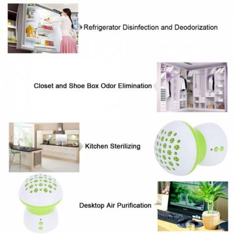 Mushroom Shape Refrigerator Freshener Multi-function Air Purifier Cleaner Disinfection Deodorant White & Green