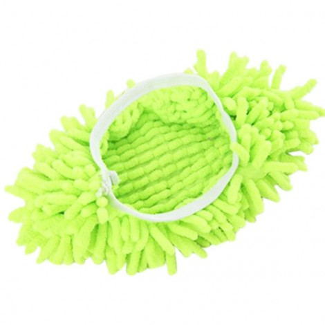 2pcs Multifunction Chenille Cleaning Mop Shoes Mophead Overshoe Floor Dust Cleaning Slippers Green