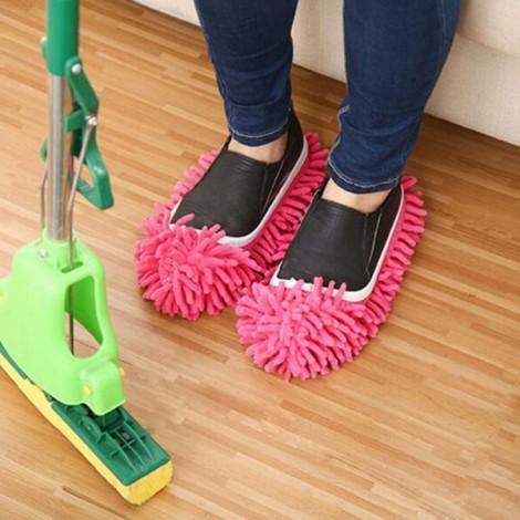 2pcs Multifunction Chenille Cleaning Mop Shoes Mophead Overshoe Floor Dust Cleaning Slippers Rose Red