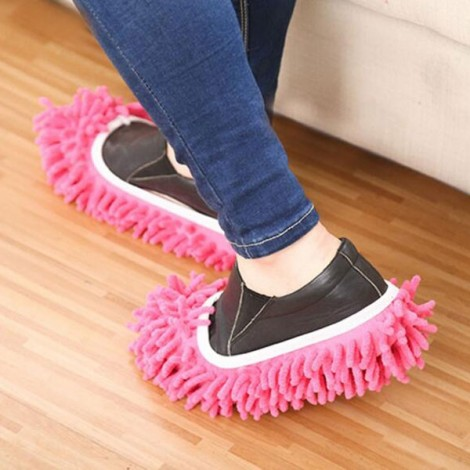 2pcs Multifunction Chenille Cleaning Mop Shoes Mophead Overshoe Floor Dust Cleaning Slippers Pink