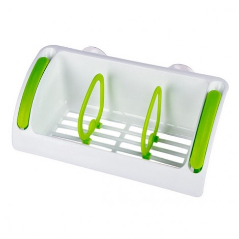 Strong Suction Cup Kitchen Brush Sponge Sink Draining Towel Rack Washing Holder Green