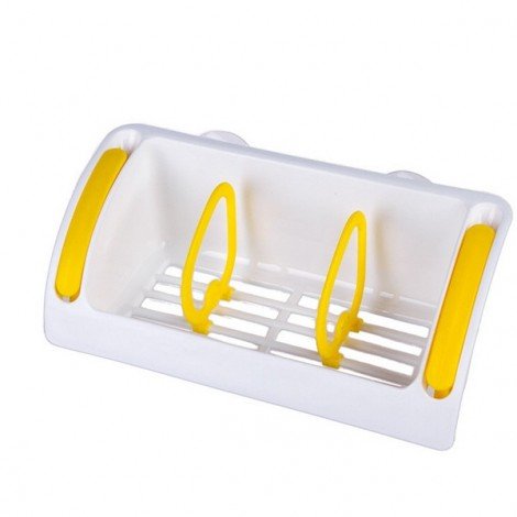 Strong Suction Cup Kitchen Brush Sponge Sink Draining Towel Rack Washing Holder Yellow