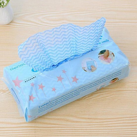 80pcs/set Extraction Style Disposable Non-woven Fabrics Kitchen Cleaning Cloth for Dishes Glasses Window Blue