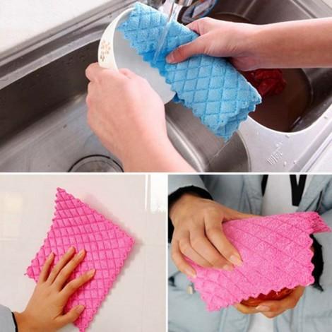 5pcs Super Fine Fiber Kitchen Washcloths Microfiber Cleaning Cloth Random Color