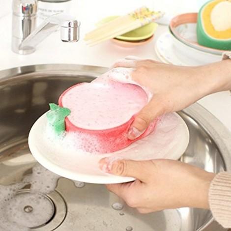 4pcs Lovely Fruit Style Strong Decontamination Sponge Microfiber Washing Scrub Kitchen Tool