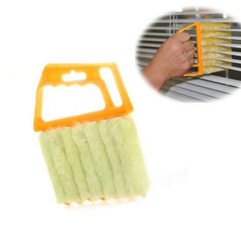 Mini Handheld Microfiber Window Blind Air Conditioner Duster Cleaner Brush Yellow
