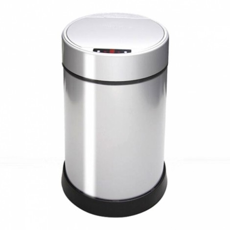 6L Touch-Free Sensor Automatic Stainless Steel Kitchen Office USB Rechargeable Trash Can Silver