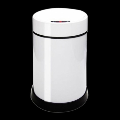 6L Touch-Free Sensor Automatic Stainless Steel Kitchen Office USB Rechargeable Trash Can White