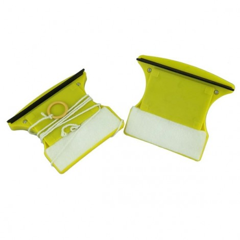 Magnetic Window Wizard Double Sides Glass Wiper Cleaner Useful Surface Brush Blue & Yellow