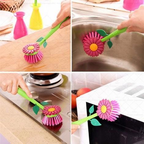 Sunflower Kitchen Cleaning Brush Pot High Density Nylon Brush Random Color