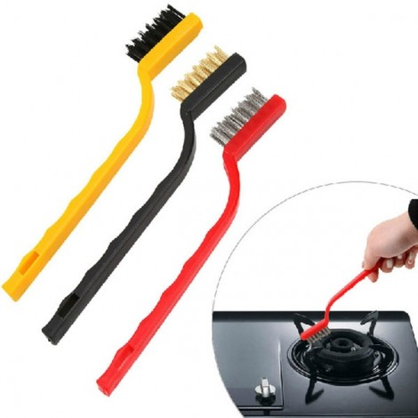 3pcs Kitchen Basin Gas Stove Iron Nylon Copper Wire Cleaning Brushes Random Color