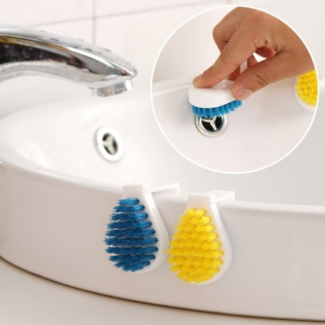 2pcs Ultra Mini Cute Hang On Style Kitchen Bathtub Cleaning Brush Kit Random Color