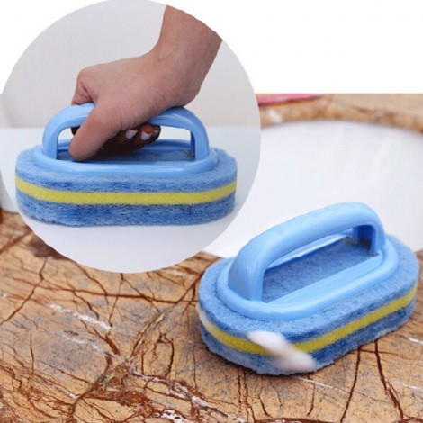 Powerful Sponge Cleaning Brush Kitchen Cooker Bowl Cleaning Brush with Handle Random Color