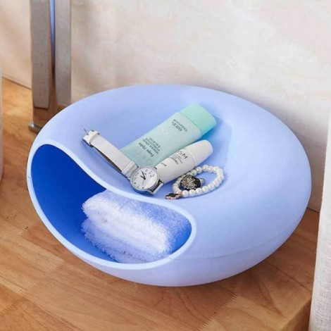 Plastic Double Layer Snack Plate Household Creative Fashion Multifunction Desktop Storage Box L Blue