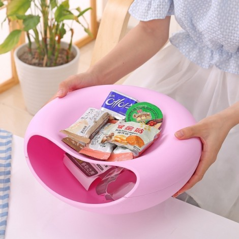 Plastic Double Layer Snack Plate Household Creative Fashion Multifunction Desktop Storage Box L Pink