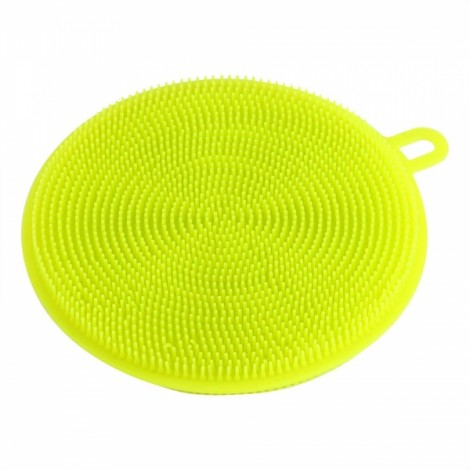 Multi-purpose Silicone Dish Washing Cleaning Brush Scrubber Heat-resistant Pad Coaster - Yellow