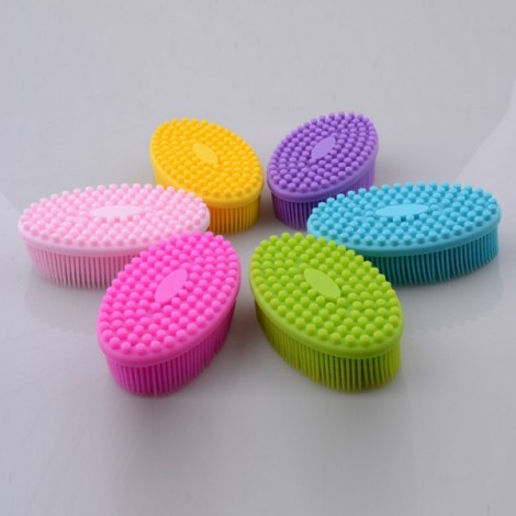 Shower Massage Brush Head Massage Shampoo Brush Gentle Touch Cleaning Brush-Color Random
