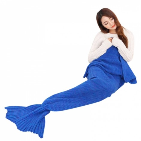 Newfashioned Stylish Crocheted Knitted Mermaid Tail Style Blanket Navy Blue