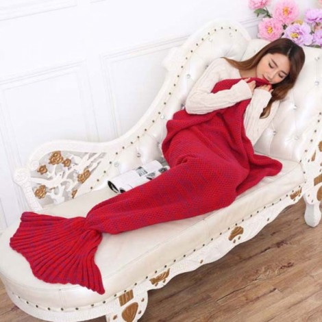 Newfashioned Stylish Crocheted Knitted Mermaid Tail Style Blanket Red