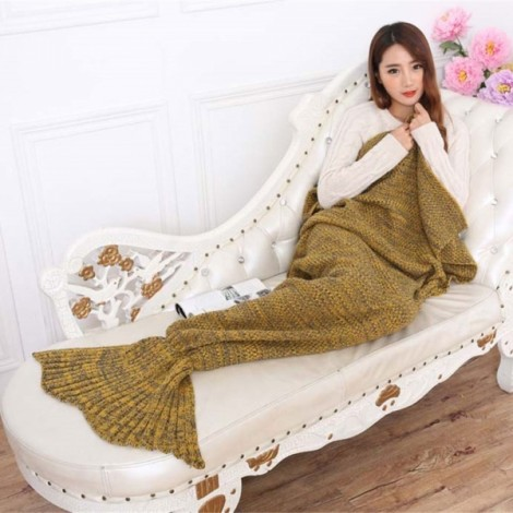 Newfashioned Stylish Crocheted Knitted Mermaid Tail Style Blanket Yellow