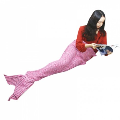 Mermaid Tail Blanket Handmade Knitted Blanket New Fashion Fish Tail Sofa Blanket for Adult Red