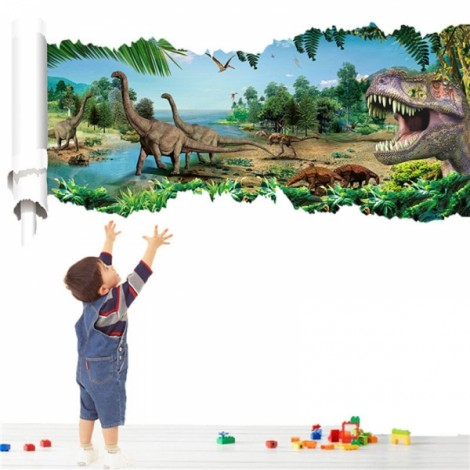 3D Forest Dinosaur Scroll Wall Decals Removable 3D Wall Art Sticker Home Room Decor